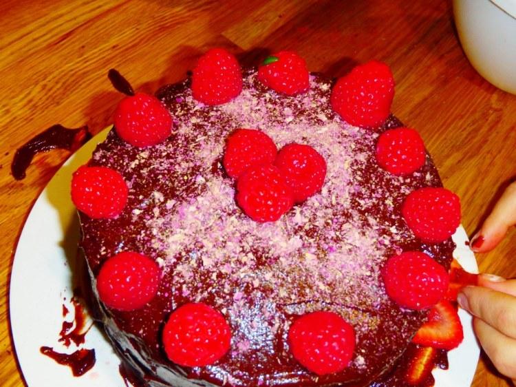 Raspberries on Cake